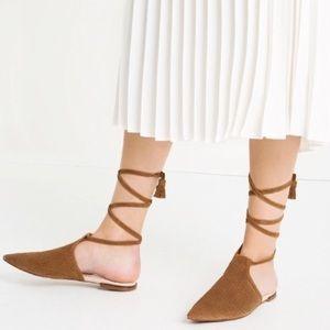 Zara Leather AnkleStrap Pointy Flats